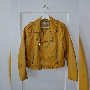 Zara Jackets & Coats - Mustard Cropped Moto Jacket